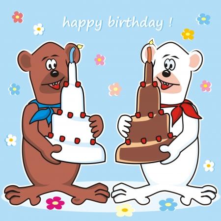 Teddy bears and cake Vector