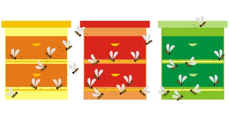 mead: 3 hives Illustration