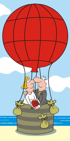 sexy young couple: baloon-bride and groom