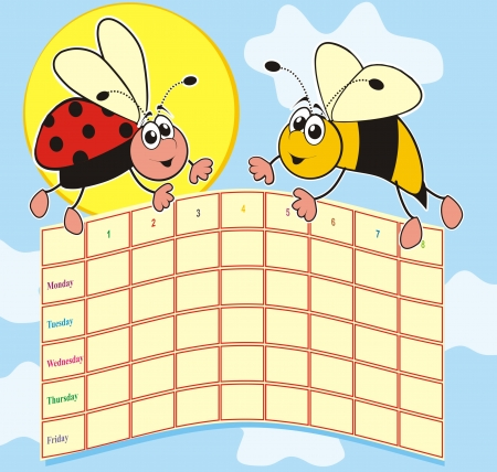 bee and ladybug-timetable Vector