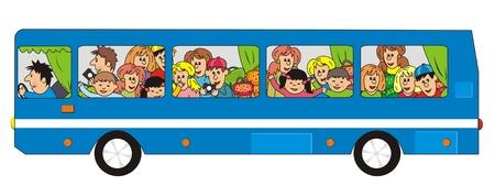 青い学校のバス  イラスト・ベクター素材