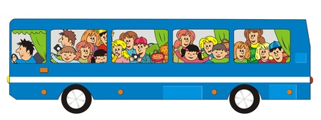 blue school bus Vector