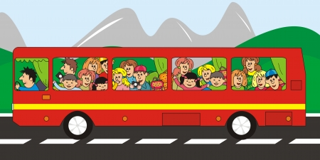 red bus - trip Vector