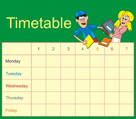 Timetable - students Vector