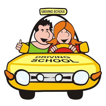 motor de carro: el hombre y la ni�a en la escuela de conducci�n de autom�viles