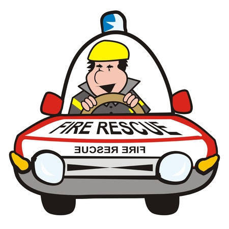 man in the car-fire rescue Illustration