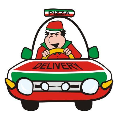 motor de carro: hombre en el coche-Pizza