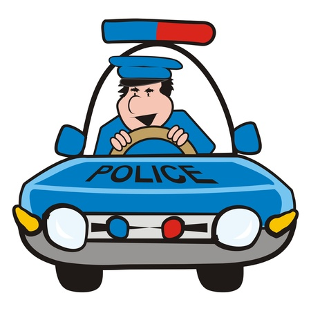 convoy: uomo in macchina-polizia Vettoriali