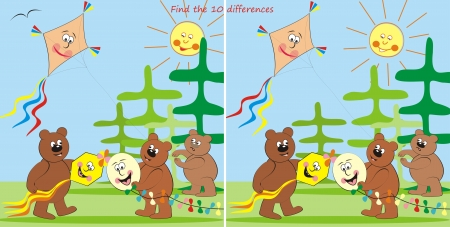 bears and kites-find 10 differences Vector