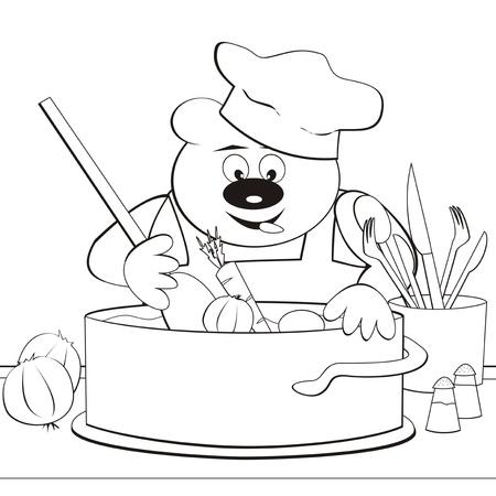 Bear - cook, coloring-book