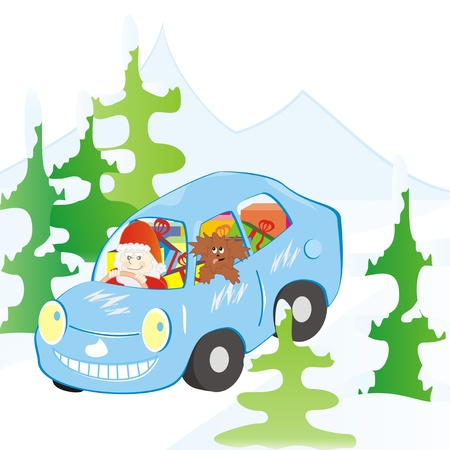 car and Santa Claus photo