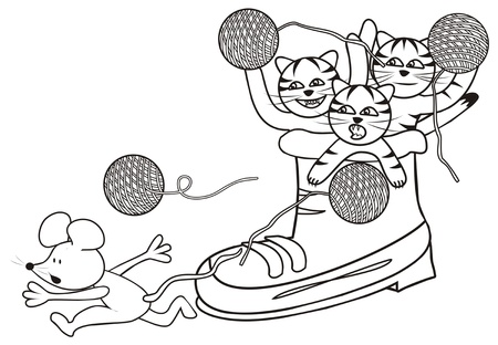 puss: shoe and kittens - coloring