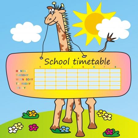 children s book: Timetable-giraffe Illustration