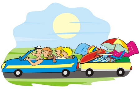 car and family Vector