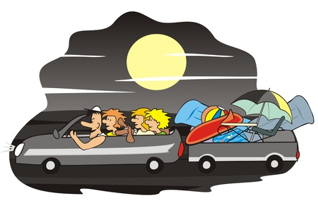 car and family - night Vector