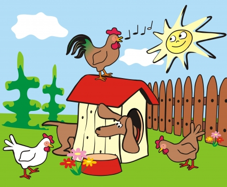 dachshund, hens and rooster Vector