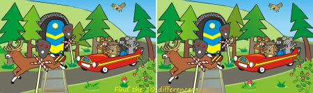 red car and train-10 differences Vector