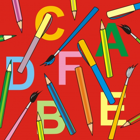 children s book: background-pencil,red