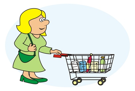 woman and shopping cart Vector