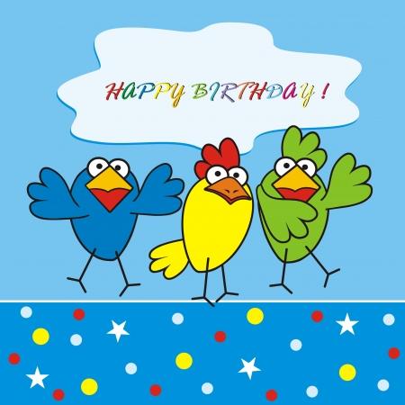 funny pictures: birds - happy birthday