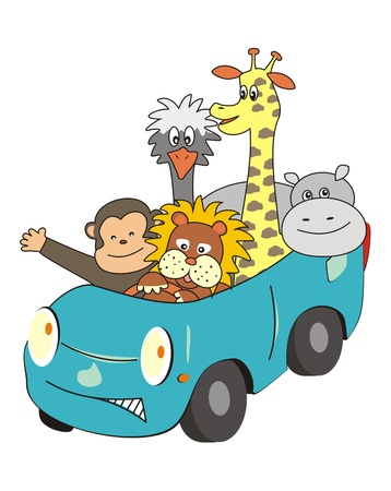 animals in the car Vector