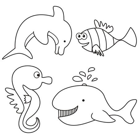 marine life - coloring Vector