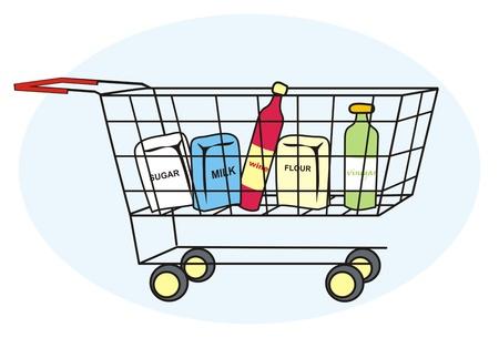 pannier: shopping cart Illustration