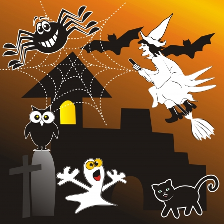 whisk broom: Halloween Illustration