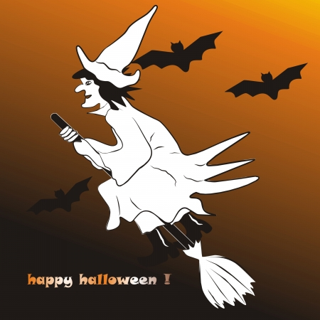 whisk broom: Happy Halloween Illustration