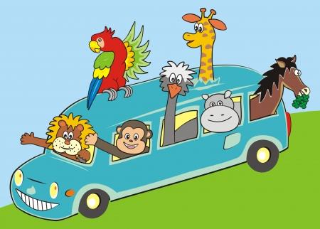 motorbus: bus and animals Illustration
