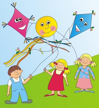 children and kites Vector