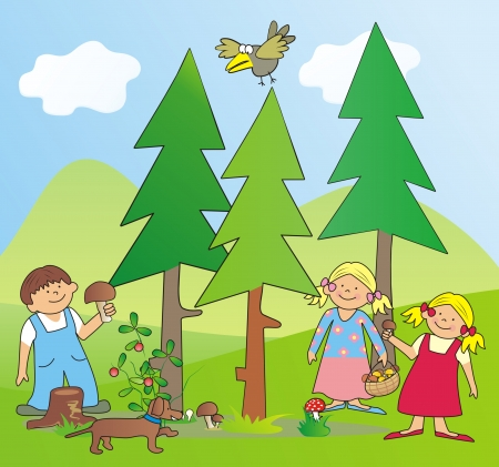 children and mushrooms Vector