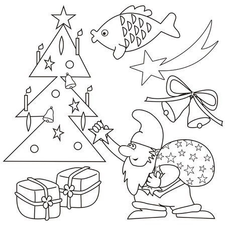 Coloring - chritstmas symbol Vector
