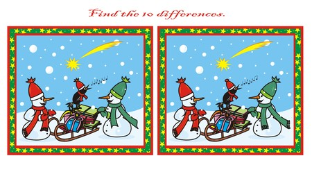 10 differences - snowmen Vector