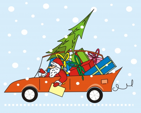 santa claus in the car Vector