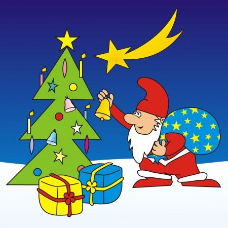 santa s bag: Merry Christmas - postcard Illustration