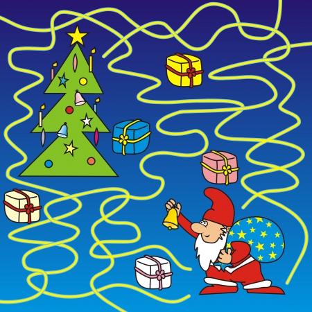 Merry Christmas - maze 矢量图像