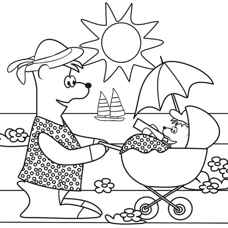 Teddy bear and buggy-coloring