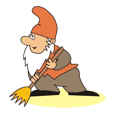 whisk broom: elf and brush Illustration