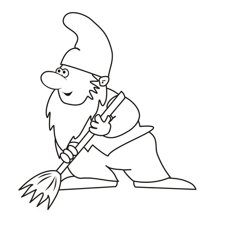 whisk broom: elf and brush-coloring