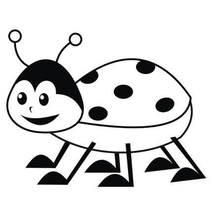 ぬりえブック - てんとう虫  イラスト・ベクター素材