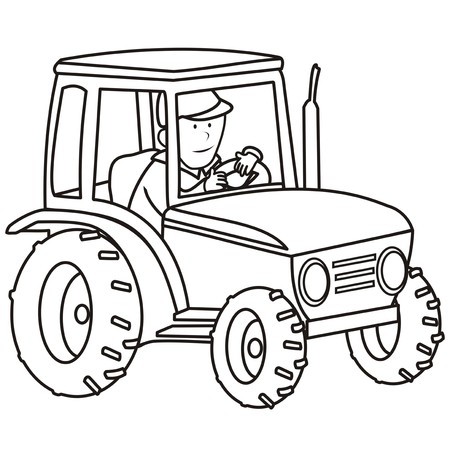 tillage: tractor - coloring book Illustration