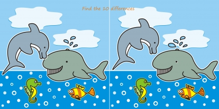 find the 10 differences-marine life Vector