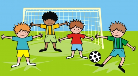 boys and football Stock Vector - 24257137