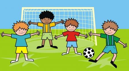 boys and football Stock Vector - 24257137