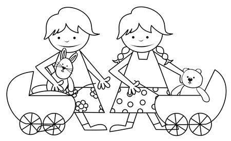 girls and toys - coloring book Vector