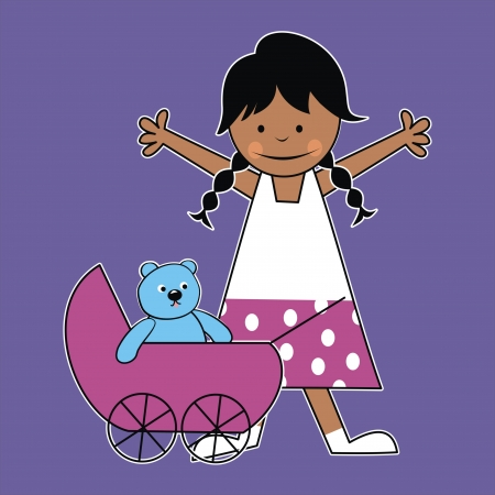 girl and stroller