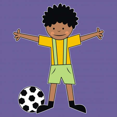 boy and ball Vector