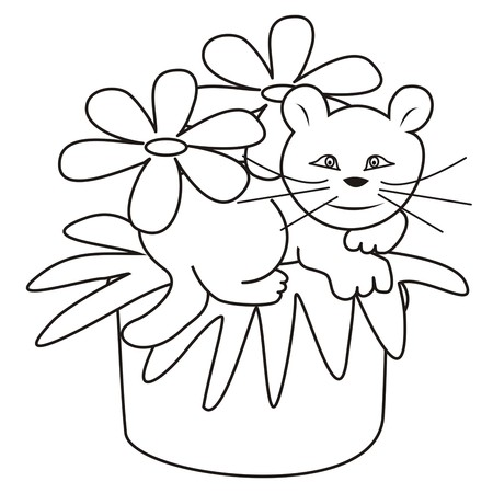 cat - coloring book Vector