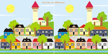 town - 10 differences Vector
